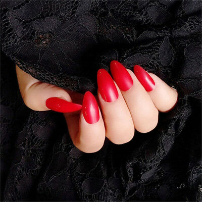 Artificial Sharp Nail Art Full Cover Stiletto Fake Gel Glue Press On Nails LG