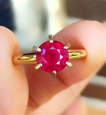 2.05ct Genuine Natural Ruby Solitaire Solid 14K 14KT White Gold Ring