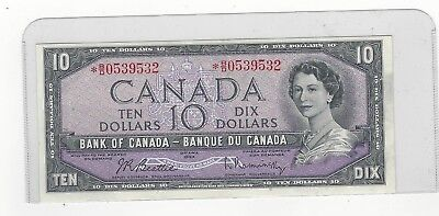 **1954**Bank of Canada BC-40bA, $10 Bea/Ras Ser# *BD 0539532 Replacement Note