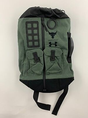 UA X Under Armour Project THE ROCK DJ 60 Green Military Duffle Bag Backpack  NWT e8c6d324b2090