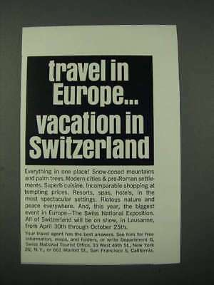 1964 Swiss Tourism Ad - Travel in Europe