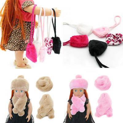 Fit For 18'' American Girl New Candy Plush Purse Bag Hat Scarf Doll Accessory