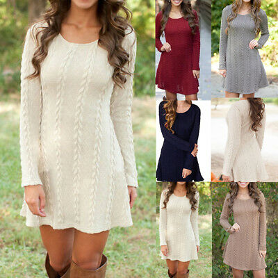 Womens Knitted Sweater Long Sleeve Casual Cable Party Jumper Tunic Mini Dress