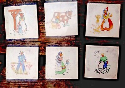 Six vintage Ceramic Tiles made in Denmark, S. Christian. Milkmaid, Handpainted