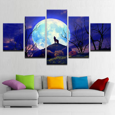 Full Moon Forest Wolf Howling 5 piece canvas Wall Art Home Decor Picture Print