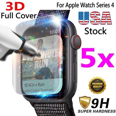 1-5X For Apple Watch Series 5/4 40/44MM 3D Full Tempered Glass Screen Protector