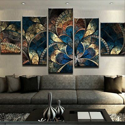 Abstract Fantasy Flowers 5 piece canvas Wall Art Home Decor Picture Print