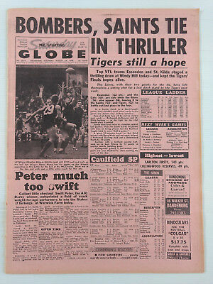1968 08 24 'bombers, Saints Tie In Thriller' The Sporting Globe Newspaper