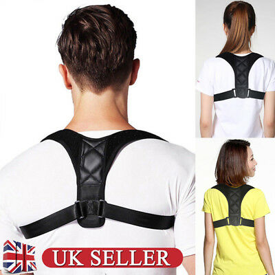 Body Wellness Posture Corrector Adjustable To Women Mens Back Shoulder Belt UK