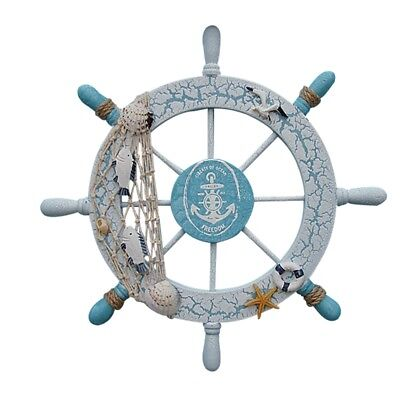 Wood Nautical Anchor Ship Boat Steering Wheel with Fishing Net Home Wall Decor