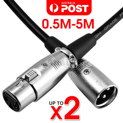 2M-5M Balanced Microphone Cable XLR Patch Lead Male to Female Extension Mic AU