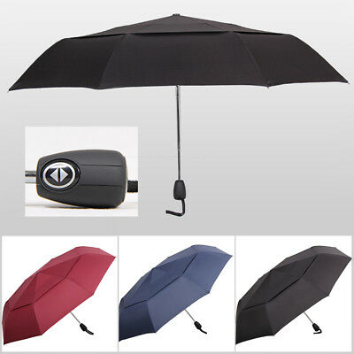 Automatic Folding Travel Umbrella Compact Strong 8 Ribs Windproof Mens Ladies