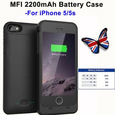For iPhone5/5s MFI 2200mAh Backup Battery Charger Case Cover External Power Case