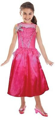 Girls Official Classic Pink Barbie Doll Princess Fancy Dress Costume Outfit 5-7y