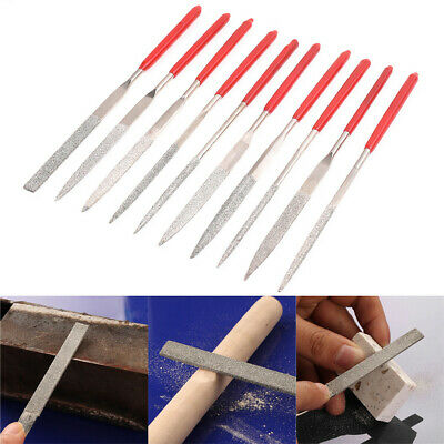 10pc Diamond Mini Needle File Set Precision Metal Glass Stone Craft Hand Tools
