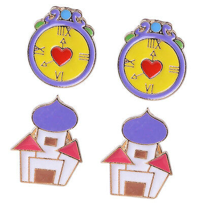 4Pcs Cute House Alarm Clock Cartoon Enamel Lapel Collar Pins Corsage Brooch