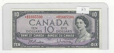 **1954**Bank of Canada BC-40bA, $10 Bea/Ras Ser# *BD 1665500 Replacement Note