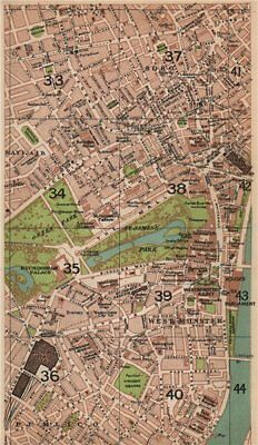 LONDON W. Westminster Mayfair Soho Pimlico St James's West End 1927 old map