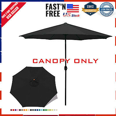 7f131ce599c9 23+ COLORS)9FT MARKET Umbrella Replacement Canopy 8 Ribs dark gray ...