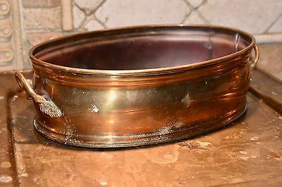 "BRASS PLANTER HANDLES OVAL SHAPED HOLDER NICE VINTAGE QUALITY 11""""L x 6.5""W"