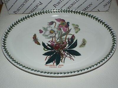 "Portmeirion Botanic Garden Christmas Rose 13"" Oval Steak Platter Dinner Plate"