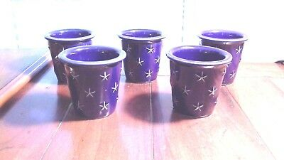 "5 Longaberger Pottery 3"" Blue Proudly American Eagle Star Votive Candle Holders"
