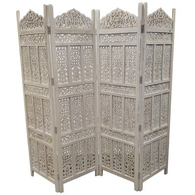Aesthetically Carved 4-Panel Wooden Partition Screen/Room Divider, Antique White