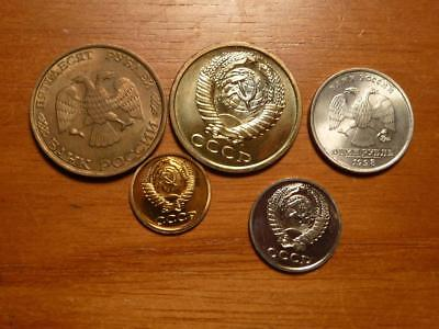 5 Different Russia Coins Mostly Uncirculated Condition..SKU#13670