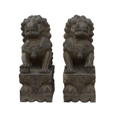 Chinese Pair Distressed Brown Gray Stone Fengshui Foo Dogs Statues cs4697