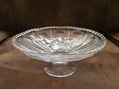Antique Clear Pressed Glass Footed Round Clear Small BOWL Dots in a Line Vtg