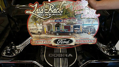 Dream Garage Ford - Embossed Metal Sign - Laid-Back Gas station Mustang Bronco