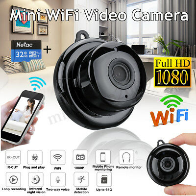 1080P Mini IP WiFi Camera Wireless HD 180° Hidden Home Security Cam Night Vision