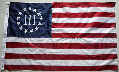 4x6 Ft Betsy Ross Nyberg III Flag 3 Percent 3% Embroidered Nylon Threeper Flag