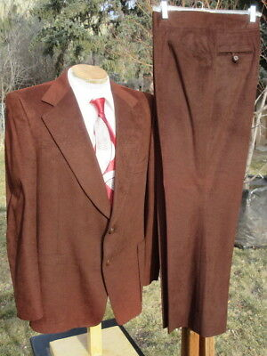 Mens Vintage Late 1960 VELOUR Suit 44R 38x29 - Plush Whiskey Brown by Phoenix