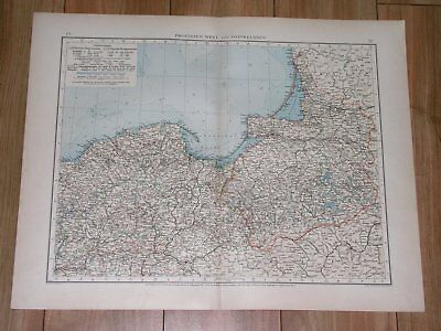 1896 Antique Map Of West And East Prussia Danzig German Empire Germany Poland