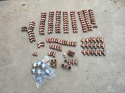 "157pc Lot of 3/4"" Copper Fittings, 90, 45, Tees, Coups, Thread Adp,"
