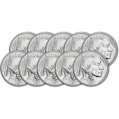 TEN (10) 1 oz Silver Round CNT Buffalo Design .9999 Fine