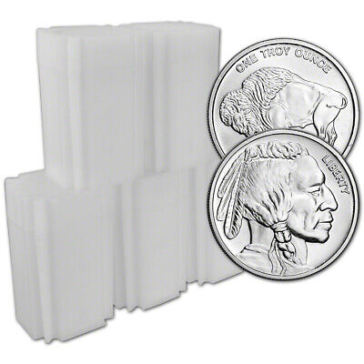 100-pc 1 oz Silver Round CNT Buffalo Design .9999 Fine 5 Tubes of 20