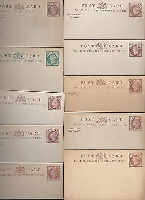 UK GB 1880's SPECIALIZED COLLECTION OF 10 QUEEN VICTORIAN MINT POSTAL CARDS DIFF
