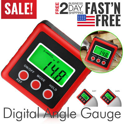 LCD Digital Level Box Protractor Inclinometer 4*90°Angle Finder Magnet Gauge US
