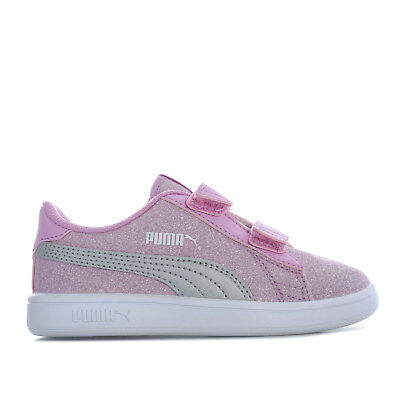 Children Girls Puma Smash V2 Glitz Glam Trainers In Pink- Hook And Loop c88133d05