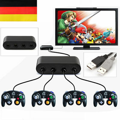 4 Port GameCube Gamepad Controller Adapter Konverter für Switch Wii-U & PC USB
