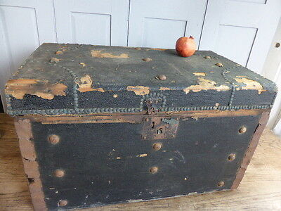 Antique wooden leather-bound trunk