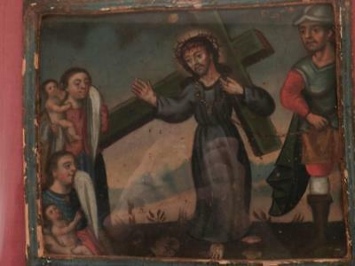 Antique Oil Painting~Jesus Meets Women~Stations of the Cross~Cuzco School of Art