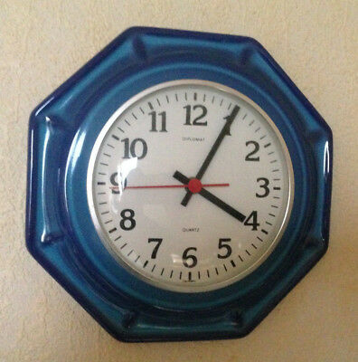 Vintage Küchenuhr Keramik Blau 70er Pop Art Quartz Uhr Top Rar