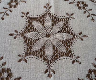 """Vintage Taupe French Nottingham Lace Tablecloth Floral Swirls Cotton 79"""""""