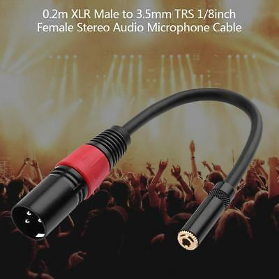 XLR 3 Pin Male to 3.5mm TRS 1/8in Female Stereo Audio Adapter Microphone Wire