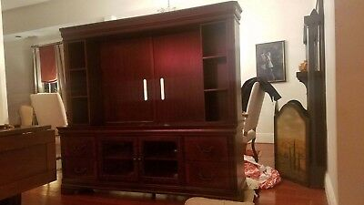 tv entertainment center wall unit. beautiful solid wood with two glass doors