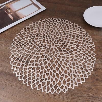 Placemat For Dining Table PVC Plastic Hollow Insulation Round Table Bowl Mats E&