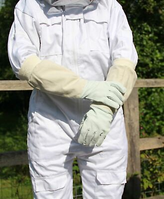Beekeeping Bee Gloves - Soft White Goats Leather with Cotton Gauntlets S/M/L New